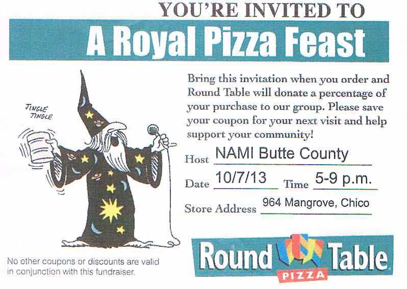 nami butte co fundraiser round table pizza national alliance on mental illness butte county. Black Bedroom Furniture Sets. Home Design Ideas